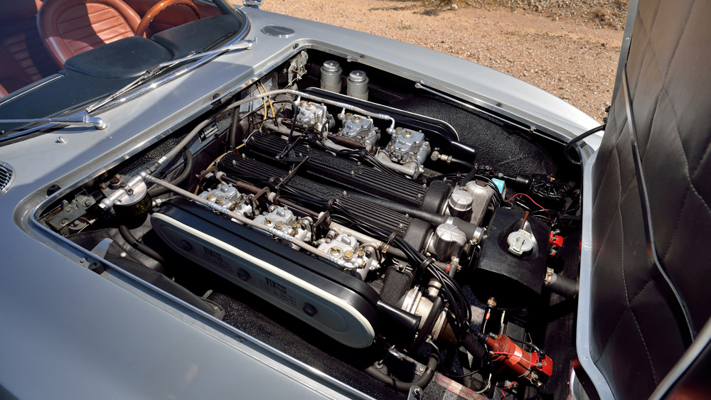 The engine of an unrestored 1967 Lamborghini 400GT 2+2.