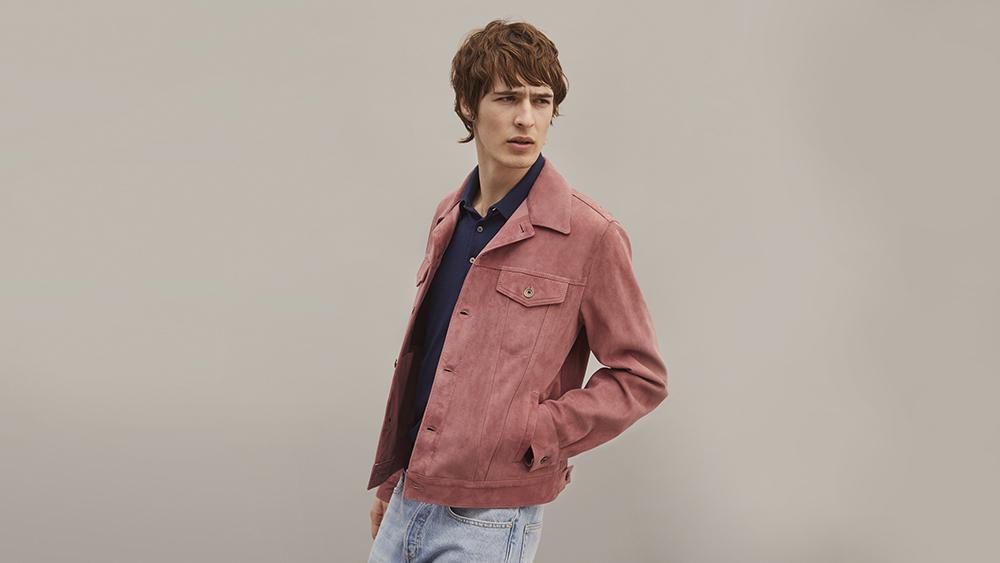 Valstar's dusty pink suede trucker jacket
