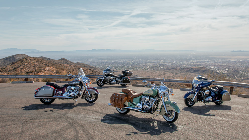 Clockwise from front: the Indian Chief Vintage, Springfield, Roadmaster and Chieftain Classic.