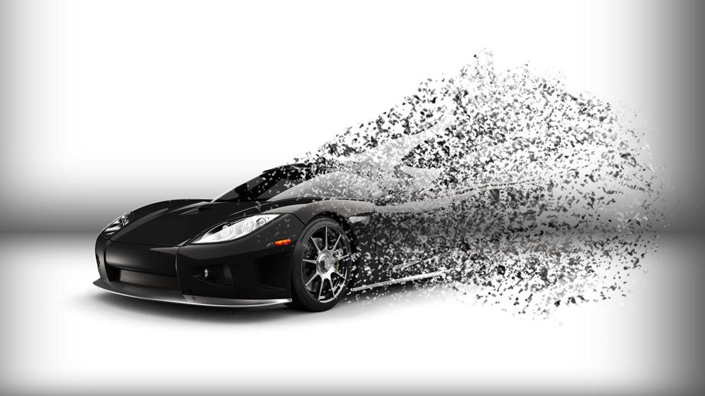 A 3-D rendering of a supercar disintegrating.
