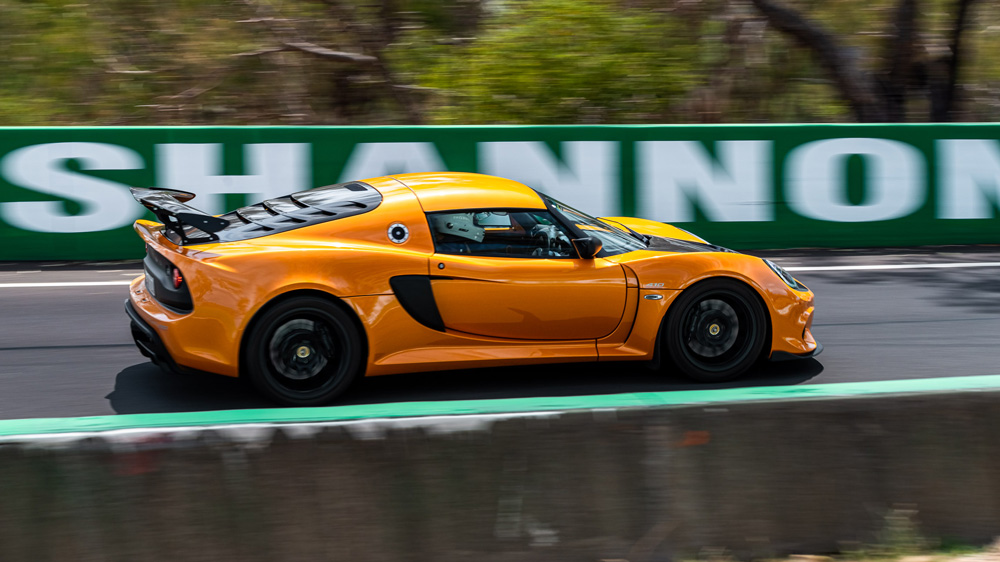 A Lotus Exige 410 Sport at the Bathurst circuit in Australia.