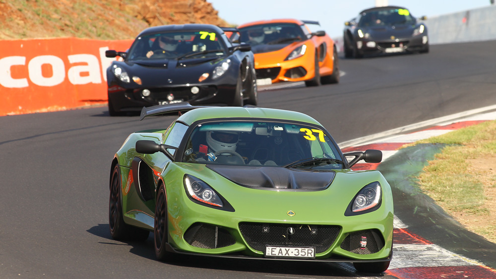 Lotus cars cutting loose at the Bathurst circuit in Australia.