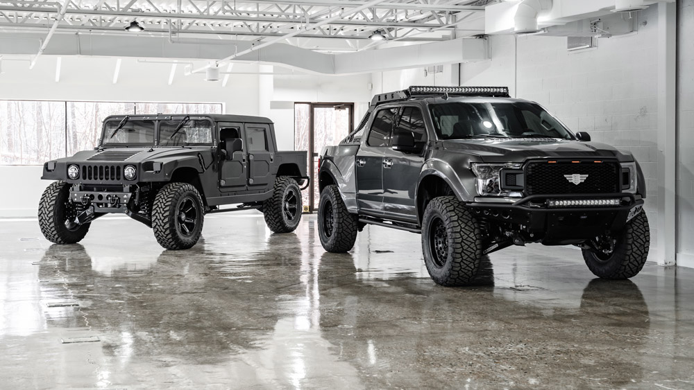 Mil Spec Automotive's enhanced versions of the Hummer H1 and the 2020 Ford F-150.