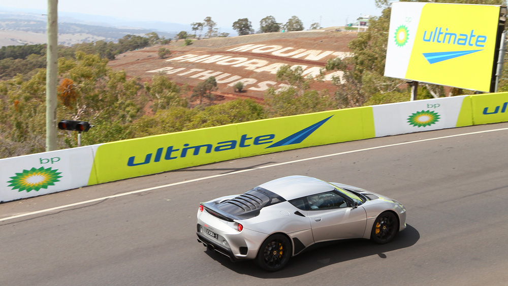 A Lotus Evora takes to the track.