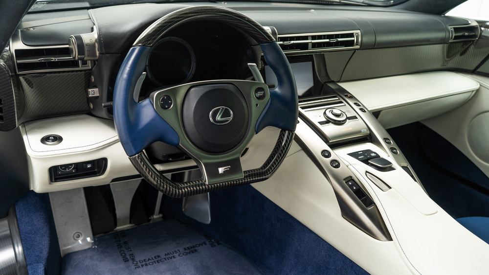 The interior of a Lexus LFA once owned by Paris Hilton.