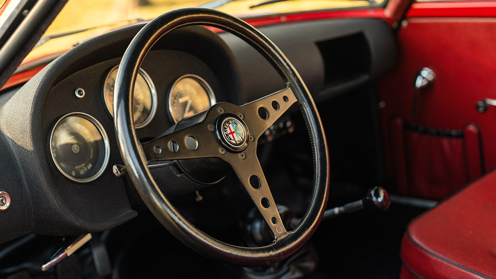 The interior of a 1960 Alfa Romeo Giulietta Sprint Zagato.