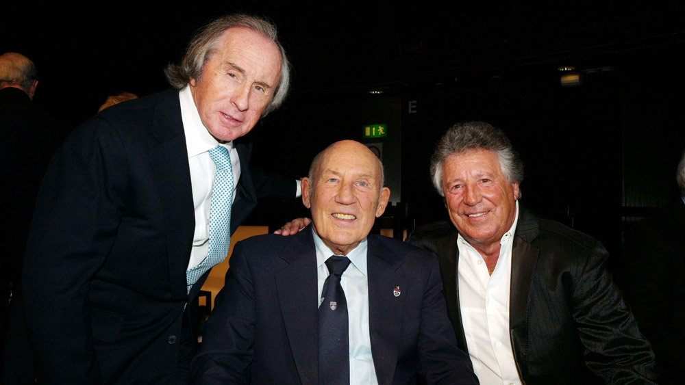 Sir Jackie Stewart, Sir Stirling Moss and Mario Andretti at the Inaugural Motorsport Hall of Fame in 2010.