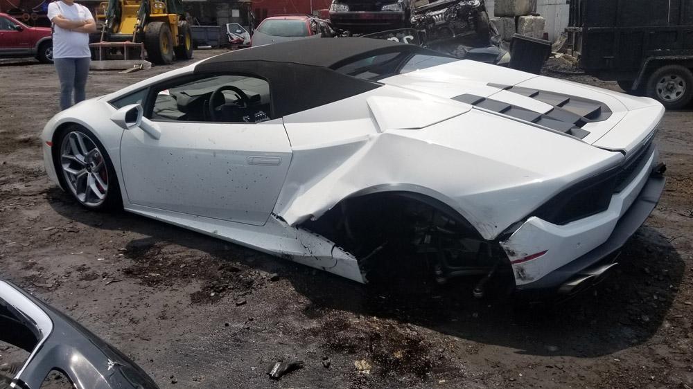 A damaged Lamborghini.