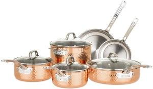 Viking tri-ply copper cookware set