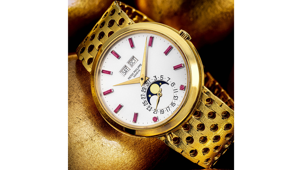 Patek Philippe Ref. 3448/8 C. 1965 18k Gold Automatic Perpetual Calendar Wristwatch With Moon Phases and Ruby Numerals