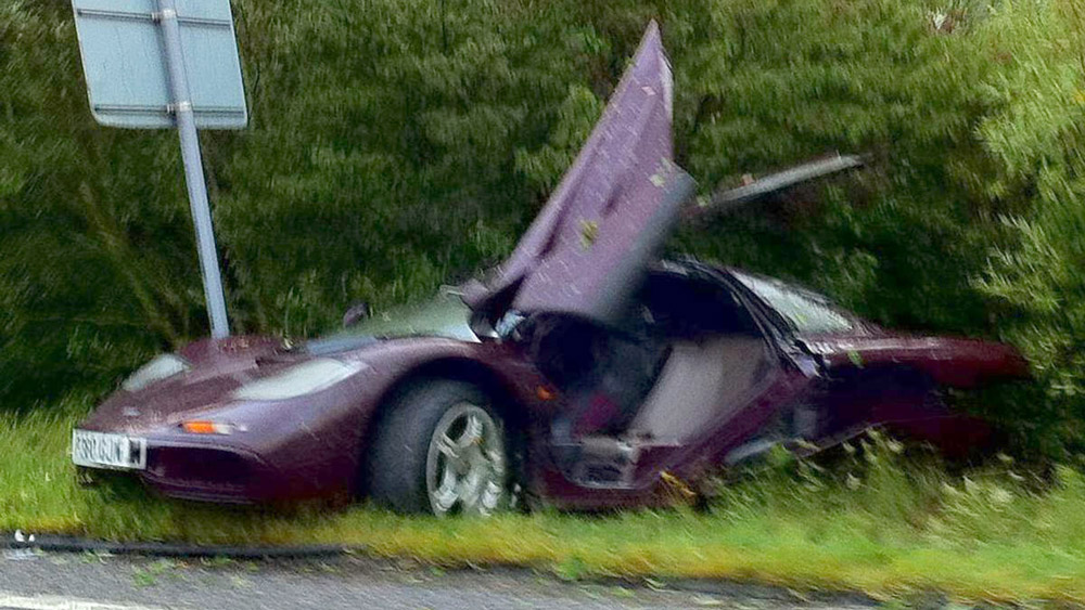 Actor Rowan Atkinson'd McLaren F1 after one of its two wrecks.