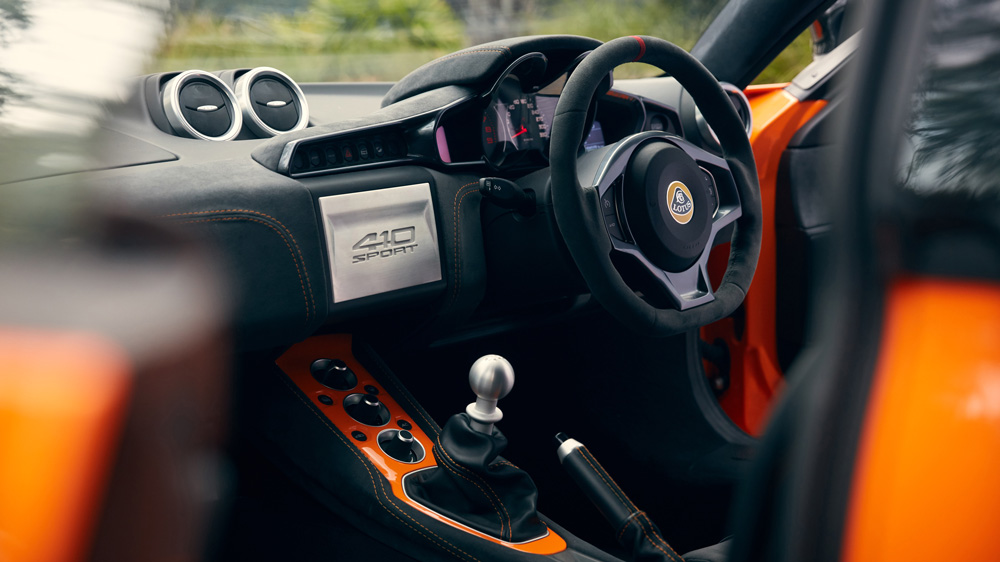 Inside the Lotus Evora GT410 Sport.