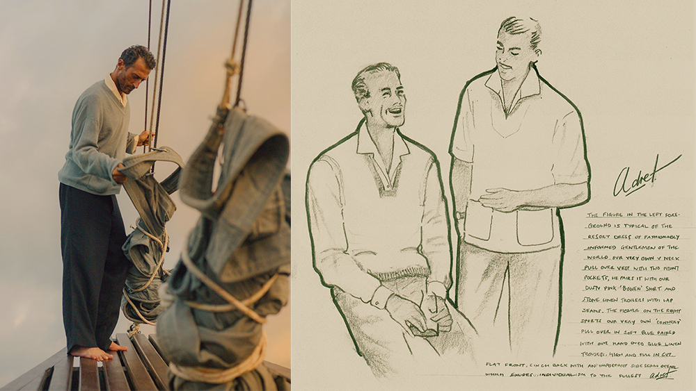 Vlad, left, in Adret's fine-gauge cotton sweater with front pockets, full-cut heavy linen trouser and 'Bowen' shirt.