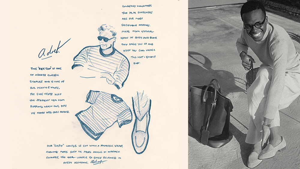 """Left, an illustration of Adret's 'Breton' knit t-shirt and 'Cary' loafers. Right, a model wears the brand's mercerized cotton mock neck sweater, French linen trousers, 'L.C.' horn glasses, 'Cary' loafers and 'Jim"""" tote bag."""