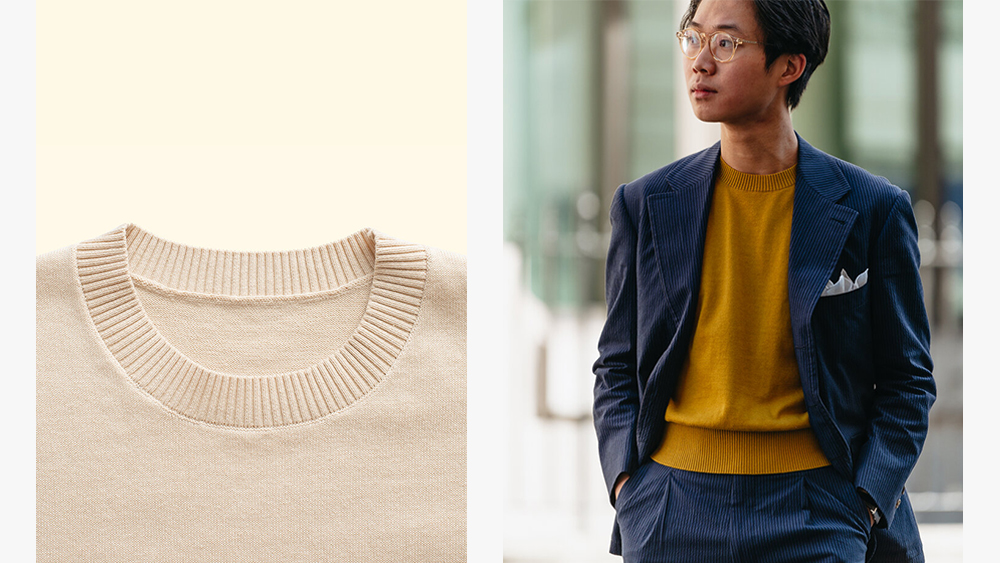 The ribbed neckline of The Anthology's knit tee; the brand's co-founder, Buzz Tang, sporting their latest design.