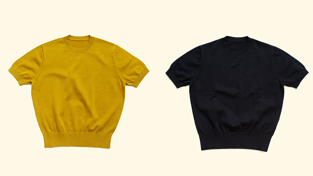 The Anthology's knit tees in mustard and navy