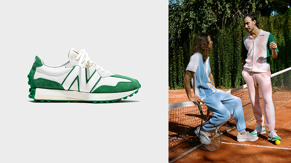 New Balance x Casablanca's 327 sneaker in green.