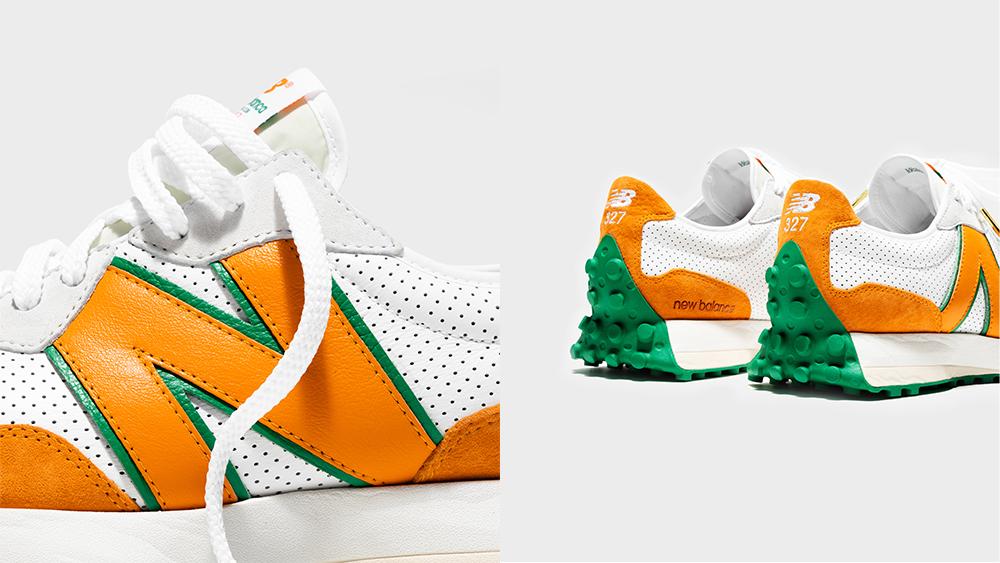 Details of the New Balance x Casablanca 327 sneaker in orange.