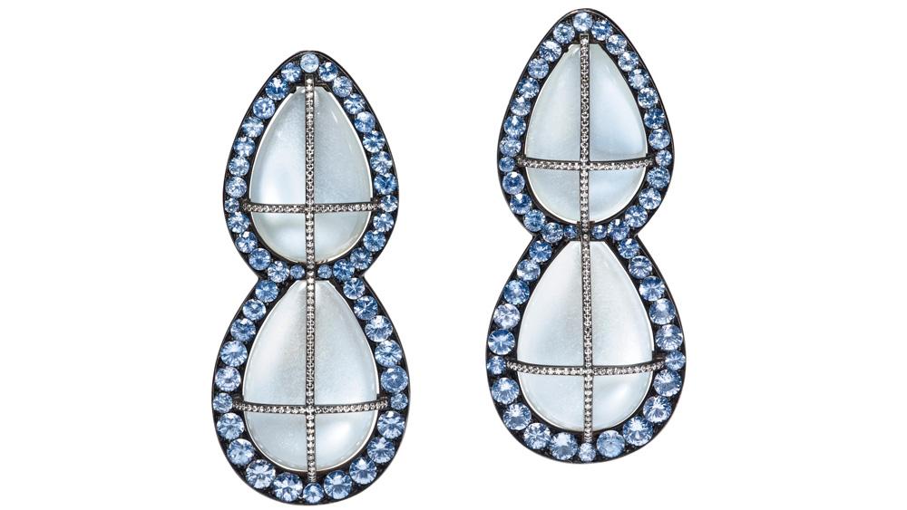 Christie's JAR Moonstone, Sapphire and Diamond Earrings