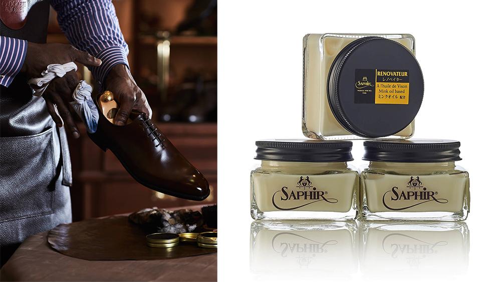 A Crockett & Jones expert shining shoes; Saphir Renovator cream.