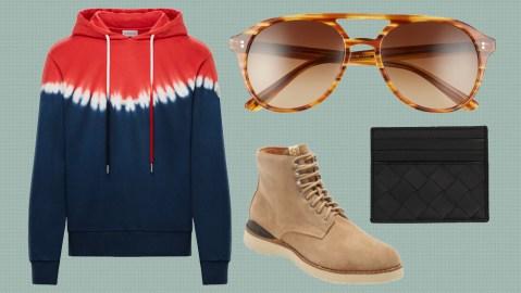 A Moncler hoodie, SALT sunglasses, Bottega Veneta cardholder and Visvim boots