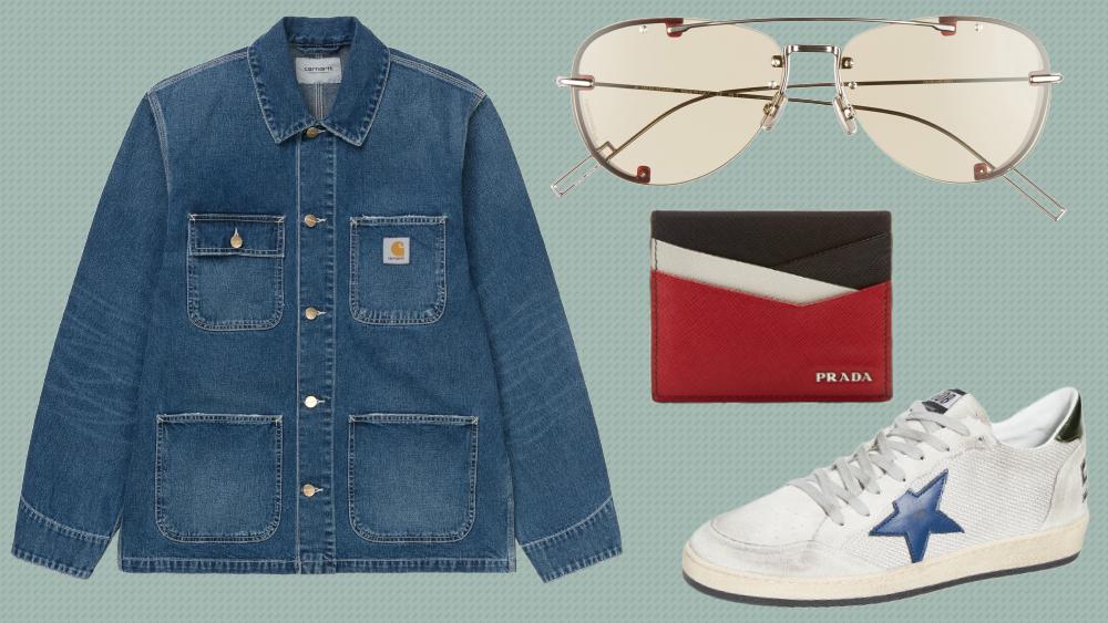 Carhartt Chore Coat, Dior Homme aviators, Prada card holder, Golden Goose Sneakers