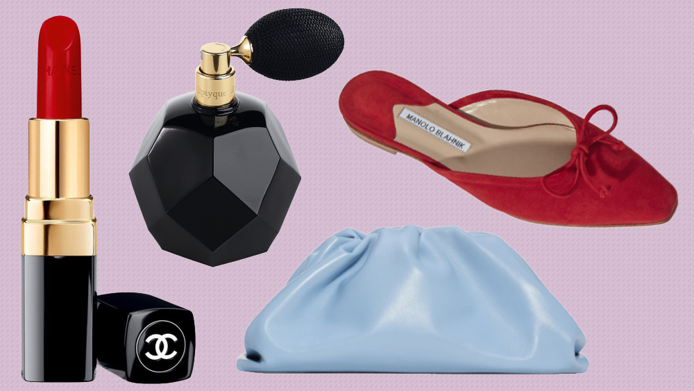 Chanel lipstick, Diptyque perfume, Manolo Blahnik slipper, Bottega Veneta clutch