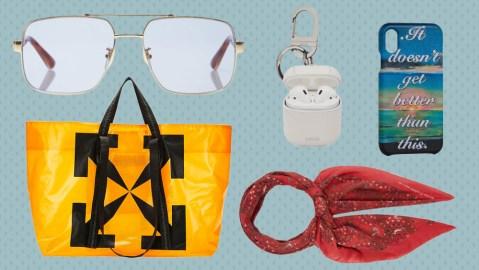 Gucci sunglasses, Off-White tote, Dior AirPods case, Acne Studios Scarf & Celine phone case
