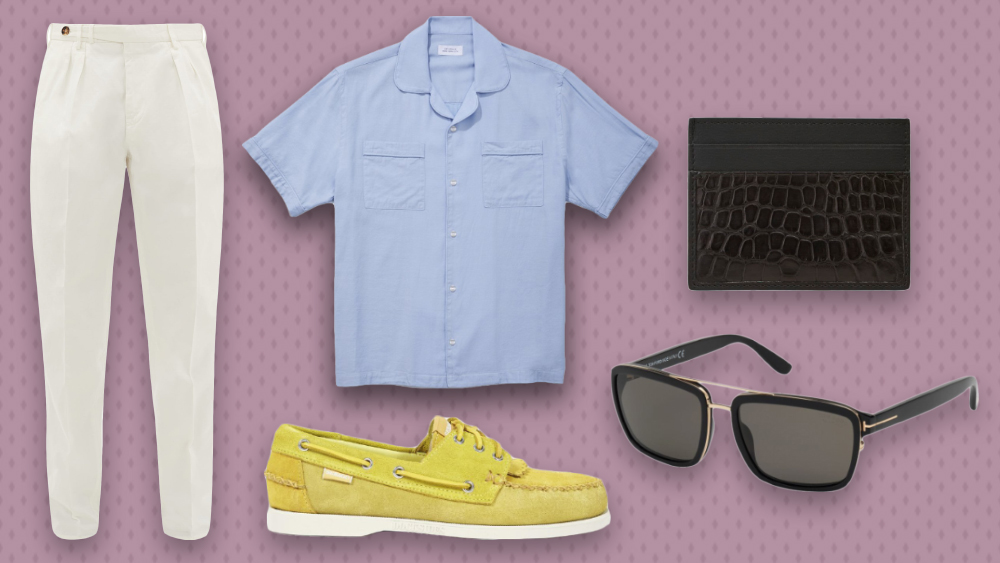 Brunello Cucinelli pants, Saturdays NYC shirt, Ermenegildo Zegna card case, Tom Ford sunglasses and Universal Works x Sebago boat shoes