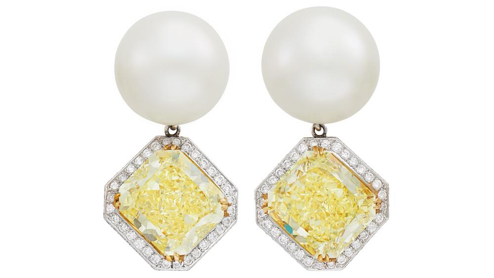 Doyle's Pearl and Yellow Diamond Pendant Earrings