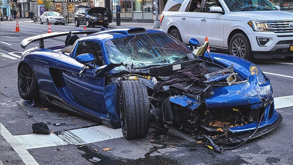 A Gemballa Mirage GT crashed in Manhattan on April 7, 2020