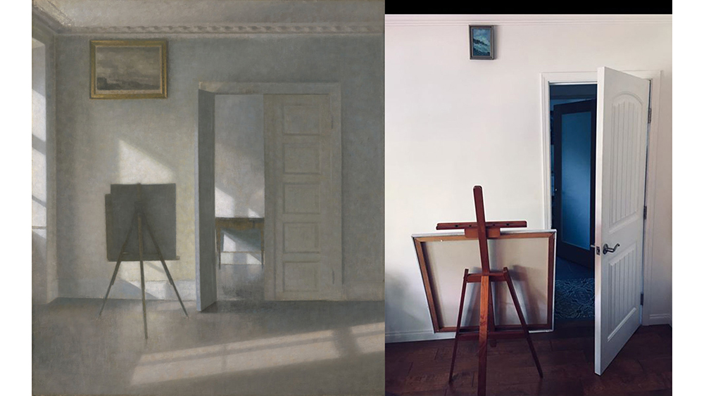 Interior with an Easel, Bredgade 25, 1912, Vilhelm Hammershøi. Oil on canvas, 31 × 27 3/4 in. The J. Paul Getty Museum, 2018.59. Re-creation via Facebook DM by Tracy McKaskle with picture, pins, easel, and unpainted canvas