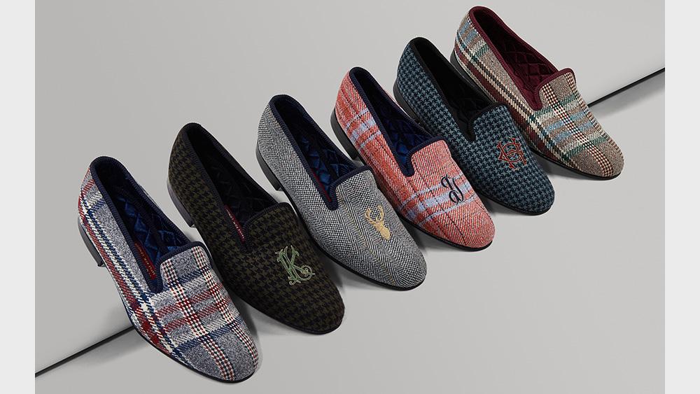 A selection of slippers in Huntsman tweeds.