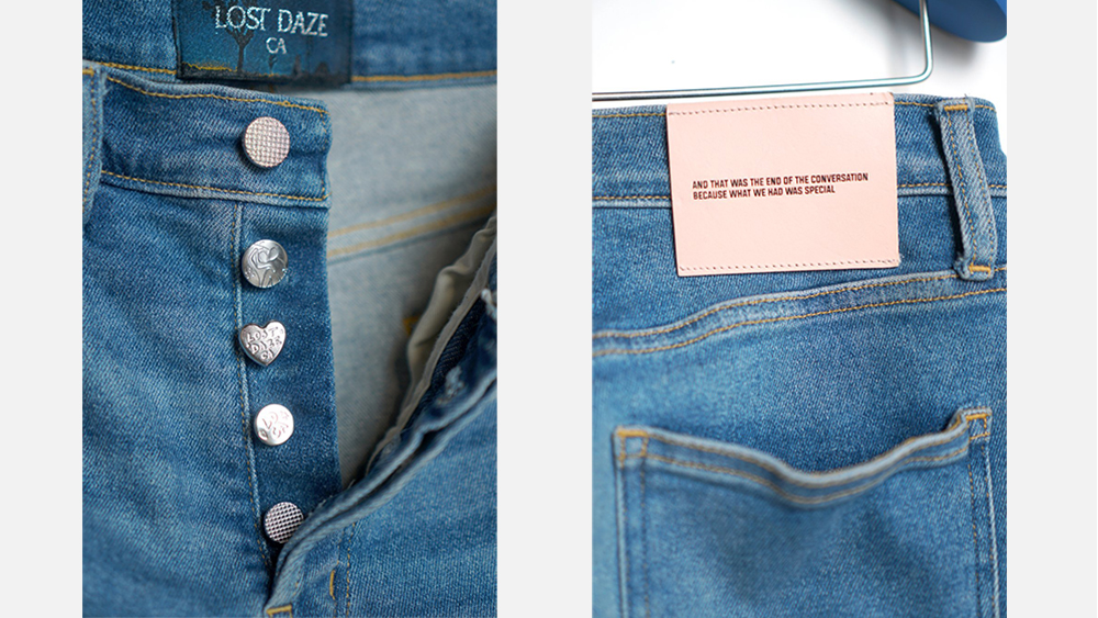 Details on a pair of Lost Daze jeans.