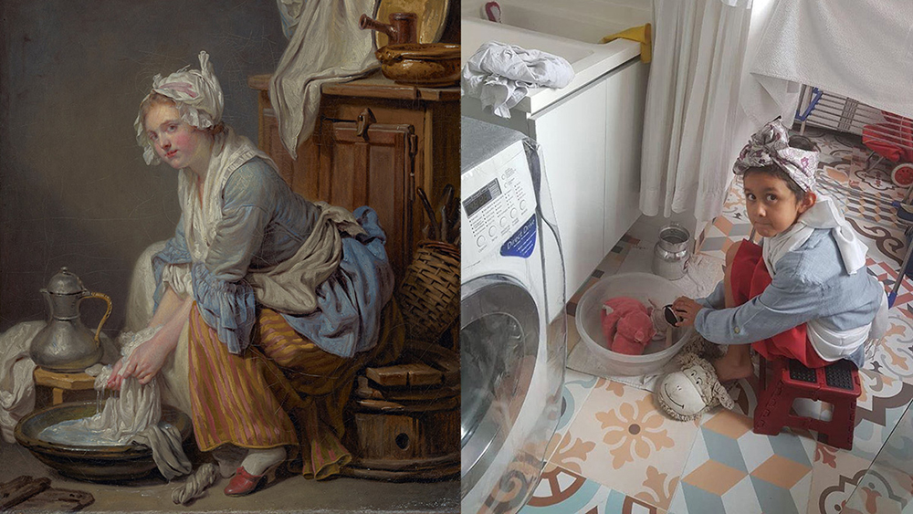 The Laundress (La Blanchisseuse), 1761, Jean-Baptiste Greuze. Oil on canvas, 16 x 13 in. The J. Paul Getty Museum, 83.PA.387. Re-creation on Instagram by Elizabeth Ariza and family in modern-day laundry room