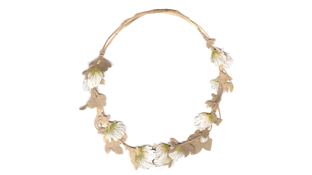 Christopher Thompson-Royds Gold White Clover Necklace