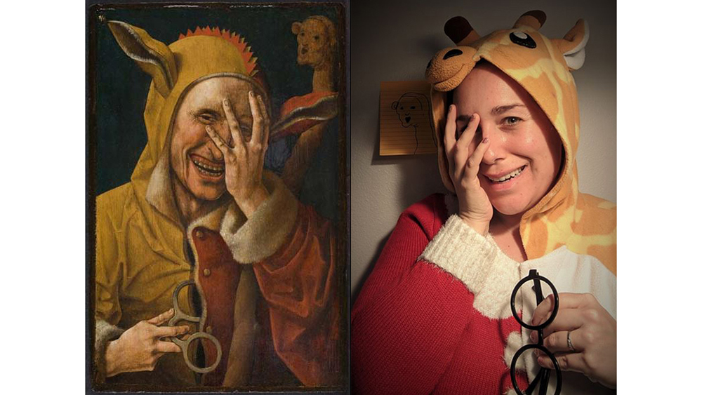 Laughing Fool, ca. 1500, attributed to Jacob Cornelisz van Oostsanen. Oil on panel, 13 7/8 in. x 9 1/8 in. Image: Davis Museum at Wellesley College. Recreation via Facebook DM by Tiffanie Pierini Ho with giraffe onesie, Christmas sweater, and post-it