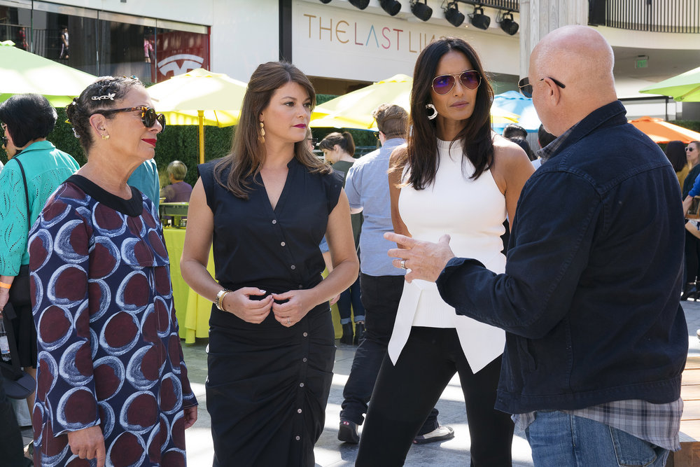 "TOP CHEF -- ""Bring Your Loved One to Work"" Episode 1705 -- Pictured: (l-r) Nancy Silverton, Gail Simmons, Padma Lakshmi, Tom Colicchio -- (Photo by: Nicole Weingart/Bravo)"