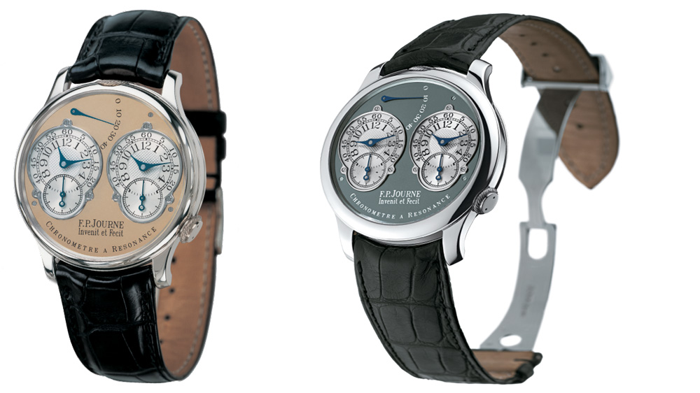 These Series 1 Resonance models feature a special edition brass dial (left) and a ruthenium coated dial (right). Both cases are in platinum.