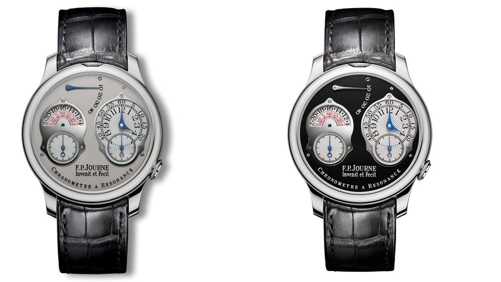 "An F.P. Journe Series III Resonance in platinum with a white gold dial (left). A special edition ""Black Label"" Resonance (right). Note the asymmetrical dials."