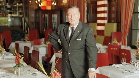 "Restaurateur Sirio Maccioni, owner of Le Cirque 2000 stands inside the celebrated French restaurant in New York, . Le Cirque is the dining room of the rich and famous, ""We were sold out from the first day with famous names,"" says Maccioni, who opened Le Cirque in 1974 in the Mayfair Hotel on the Upper East Side. The restaurant is now located in the landmark Villard Houses in midtown ManhattanLe Cirque, New York, USA"