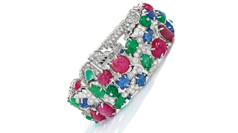 Sotheby's Gem-Set Diamond and Enamel Tutti Frutti Cartier Bracelet (estimate $600,000-$800,000)