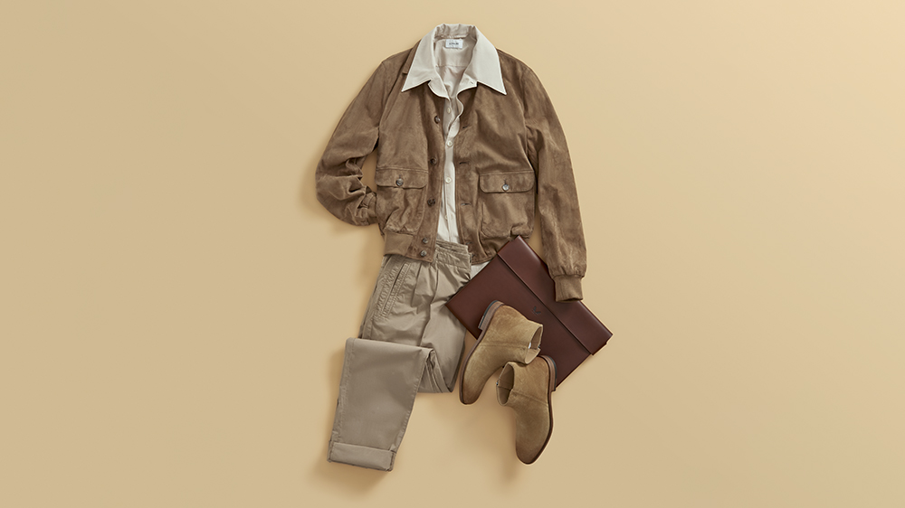 The Armoury suede jacket; Lemaire camp-collar printed voile viscose shirt; Corneliani cotton pants; Tod's suede Chelsea boots; Bennett Winch leather folio.