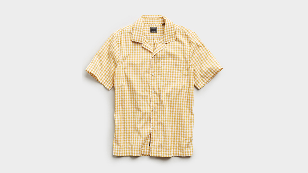 A Todd Snyder shirt made with an Albini yellow gingham cotton.