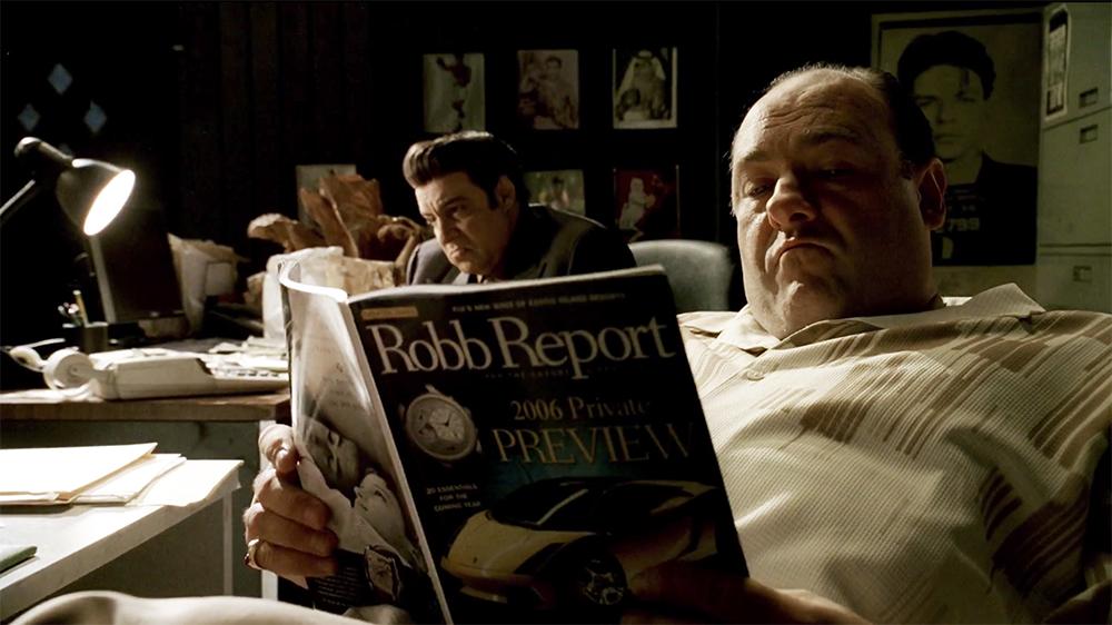 Tony Soprano reading Robb Report in The Sopranos