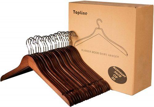 Topline Classic 20 Piece Wood Shirt Hangers