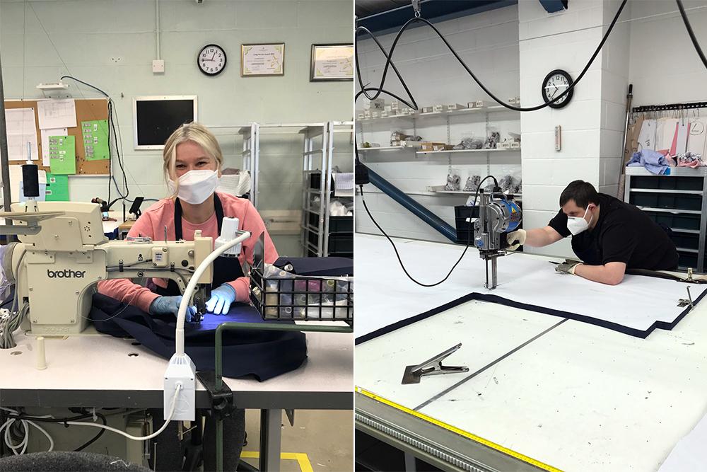The Turnbull & Asser staff making medical scrubs.