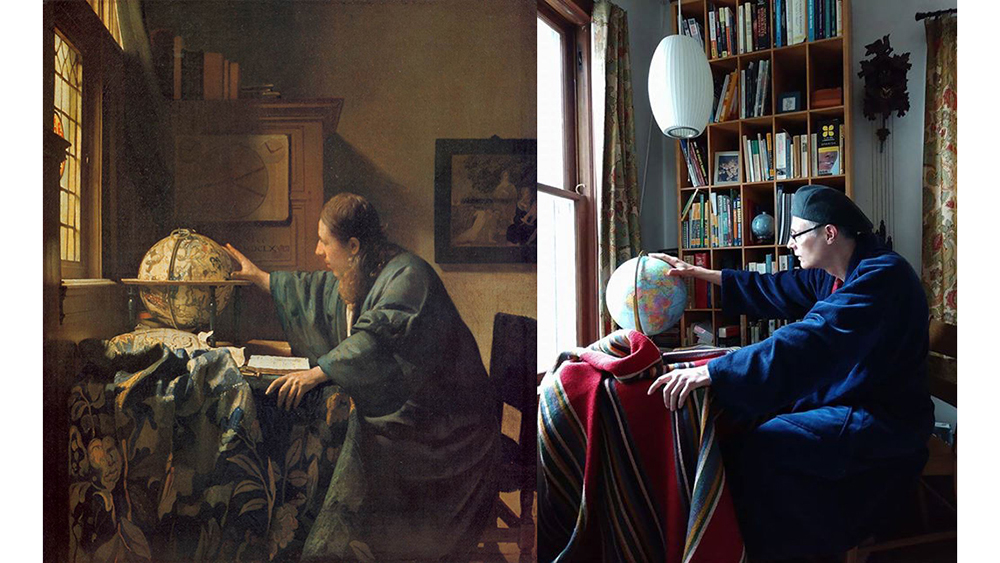 The Astronomer, 1668, Johannes Vermeer. Oil on canvas, 19.6 in. x 17.7 in. Musée du Louvre, Paris. Image: Wikimedia Commons. Recreation on Twitter and via Facebook DM by Ann Zumhagen-Krause and her husband with tray table, blanket, and globe