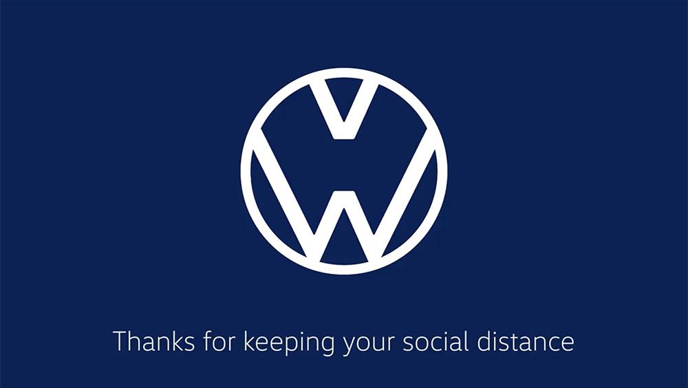 Volkswagen's social distancing-inspired logo