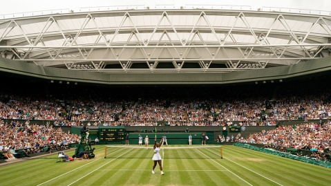 Serena Williams (USA) celebrates her win on Centre Court in the quarter final of the Ladies' Singles. The Championships 2019. Held at The All England Lawn Tennis Club, Wimbledon. Day 8 Tuesday 09/07/2019. Credit: AELTC/Joe Toth